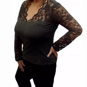 Charcoal scallop neckline lace sleeve sexy top